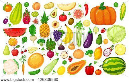 Cartoon Fruits And Vegetables. Broccoli, Carrot, Cabbage, Beetroot, Kiwi, Apricot, Mango. Fresh Orga