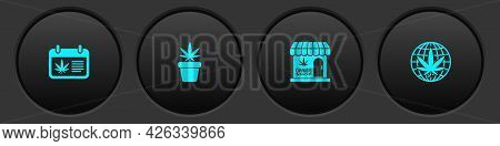 Set Calendar And Marijuana, Marijuana Plant In Pot, Cannabis Store And Legalize Icon. Vector