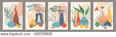 Abstract Poster With Vases. Still Life With Ceramic Vases, Plants And Fruits. Modern Botanical Wall