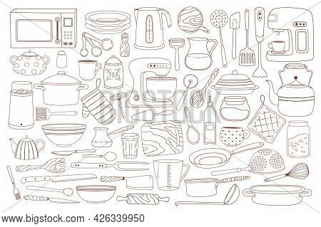Doodle Kitchenware. Hand Drawn Cooking And Baking Equipment Pot, Spoon, Whisk, Microwave, Knives. Ta