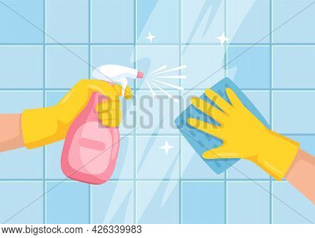 Cleaning Surface. Hands With Spray Bottle And Cloth Wiping Bathroom Tile Wall. Cleaning Or Disinfect
