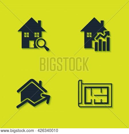 Set Search House, House Plan, Rising Cost Of Housing And Icon. Vector