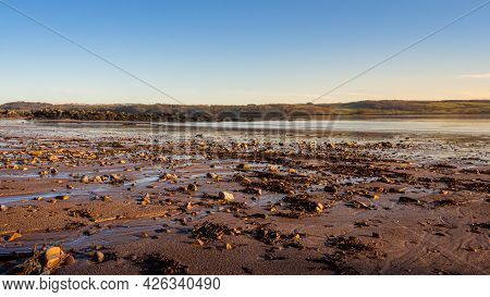 Cobble, Mud And Sea Weed At Low Tide On A Cold Winter Morning At Sunrise, Dee Estuary, Dhoon Bay, Ki