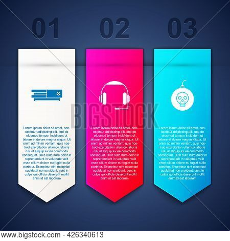 Set Video Game Console, Headphones And Bomb Ready To Explode. Business Infographic Template. Vector