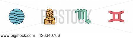 Set Planet Jupiter, Astrology Woman, Scorpio Zodiac And Gemini Icon. Vector
