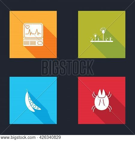 Set Monitor With Cardiogram, Mold, Kidney Beans And Parasite Mite Icon. Vector
