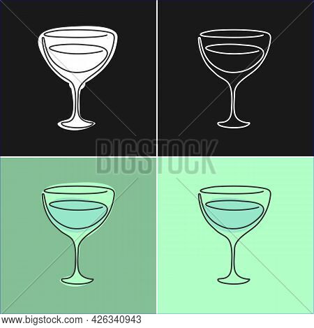 One Line Drawing Vermouth Glass On Various Background. Four Types Of Images. Colored Cartoon Graphic