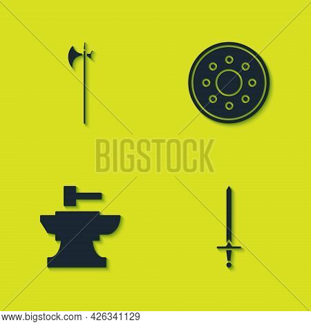 Set Medieval Halberd, Sword, Anvil For Blacksmithing Hammer And Round Wooden Shield Icon. Vector