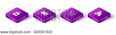 Set Isometric Shoping Bag With Percent Discount, Credit Card And Dollar, Shopping Cart And Cash Regi