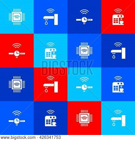 Set Processor With Microcircuits Cpu, Smart Water Tap, Smartwatch And Coffee Machine Icon. Vector