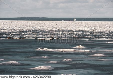 Spring On The Gulf Of Finland, Broken Ice And A Ship