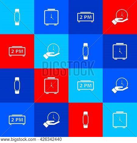 Set Smartwatch, Alarm Clock, Digital Alarm And Clock Icon. Vector