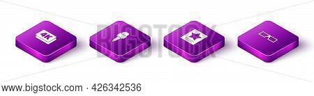 Set Isometric 4k Ultra Hd, Microphone, Hollywood Walk Of Fame Star And 3d Cinema Glasses Icon. Vecto