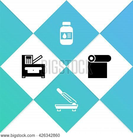 Set Copy Machine, Paper Cutter, Printer Ink Bottle And Roll Of Paper Icon. Vector