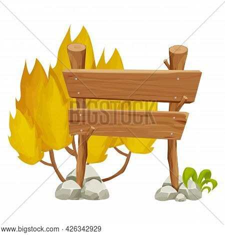 Wooden Pointer, Signboard With Rock, Stone Pile, Grass And Yellow Bush In Cartoon Style Isolated On