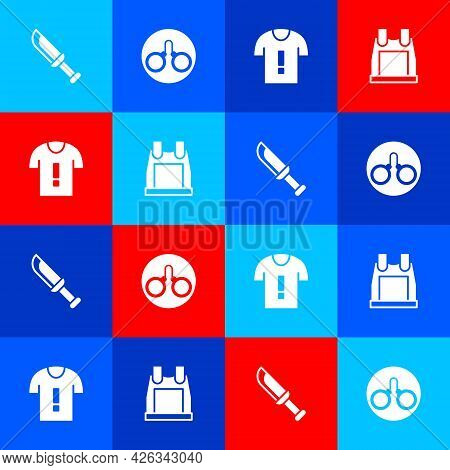 Set Military Knife, Handcuffs, T-shirt Protest And Bulletproof Vest Icon. Vector