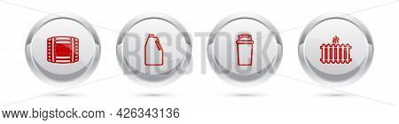 Set Line Wooden Barrel With Rum, Household Chemicals Bottle, Fitness Shaker And Heating Radiator. Si