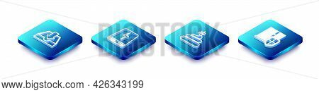 Set Isometric Line Download Inbox, Power Bank, Shit And Server With Shield Icon. Vector