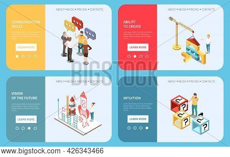 Entrepreneur Isometric Composition With Active Communication Skills Symbols Vector Illustration