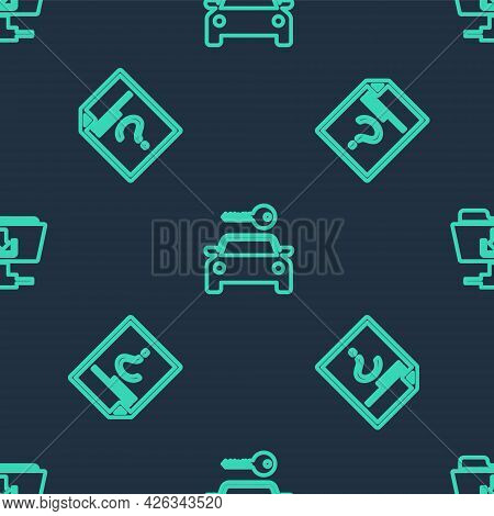 Set Line Car Rental, Unknown Document And Ftp Folder Download On Seamless Pattern. Vector