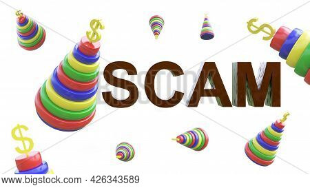 Chaotic Movement Of Children's Composite Multi-colored Pyramids With A Dollar Symbol On Top And The