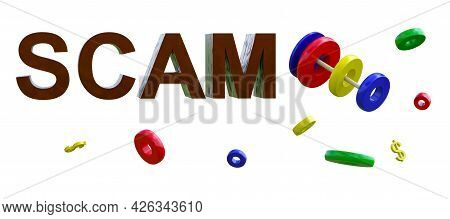 Flying Rings Of A Children's Pyramid With A Dollar Symbol And A Volumetric Inscription Scam. Financi