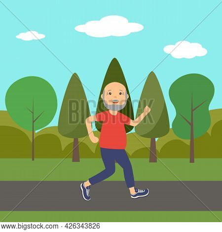 Old Man Running In A Park For Good Health In Flat Design. Happy Senior Man Exercise By Daily Jogging