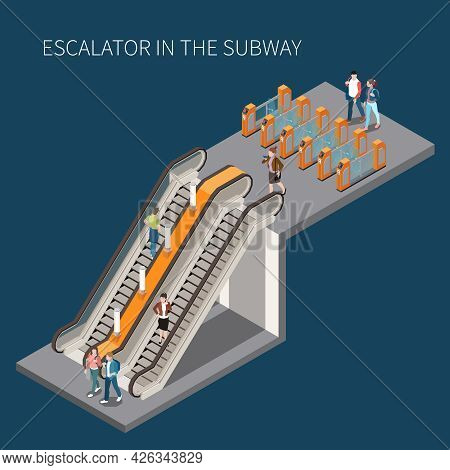 Subway Underground Metro Access With Turnstile Fare Gates Passengers Descending Ascending Stairs And