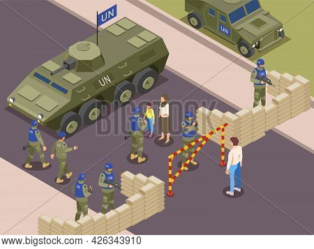 United Nations Peacekeepers Isometric Composition With Military Patrol Checking Residents Before Cro