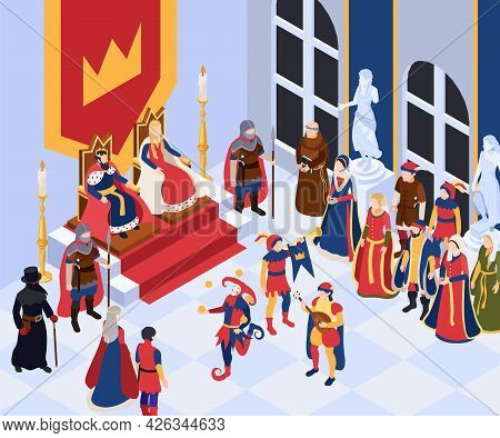 Medieval Characters Isometric Background With King Queen And Nobility Vector Illustraion