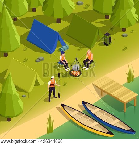 Canoeing And Kayaking Campsite Isometric Composition With Riverbank Boats Tent People Cooking Food O