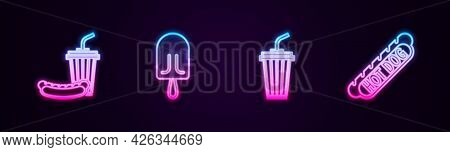 Set Line Soda And Hotdog, Ice Cream, Glass With Water And Hotdog Sandwich. Glowing Neon Icon. Vector