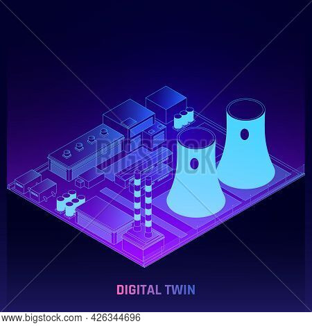Digital Twins Production Process Simulation Technology At Power Generation Plant Isometric Glowing D