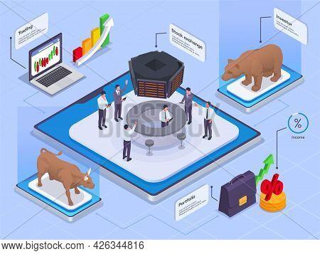 Stock Exchange Financial Market Trading Isometric Colored Concept With Trading Stock Exchange Invest