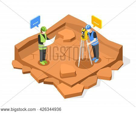 Geodesy Isometric Composition With View Of Square Pit And Characters Of Two Engineers Performing Som