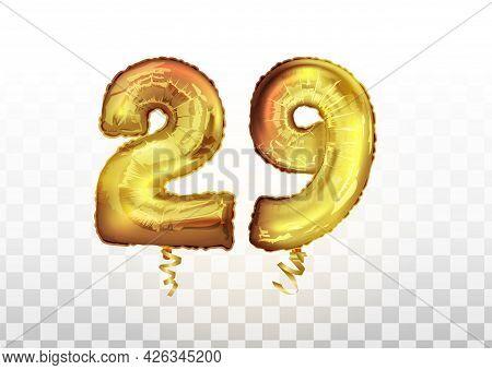 Vector Golden Foil Number 29 Twenty Nine Metallic Balloon. Party Decoration Golden Balloons. Anniver
