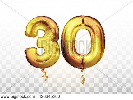 Vector Golden Foil Number 30 Thirty Metallic Balloon. Party Decoration Golden Balloons. Anniversary
