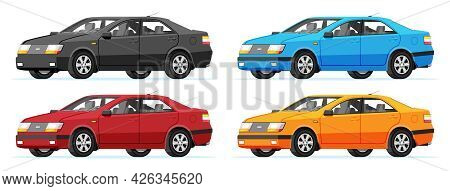 Passenger Car Side View. Sedan In Different Colors. Modern City Car Isolated. Colorful Urban Vehicle