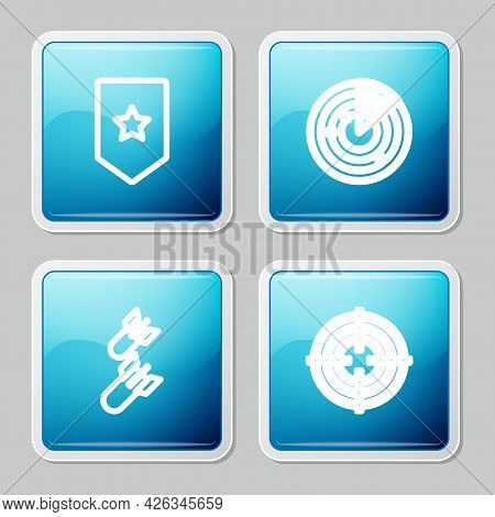 Set Line Chevron, Radar With Targets, Aviation Bomb And Target Sport Icon. Vector