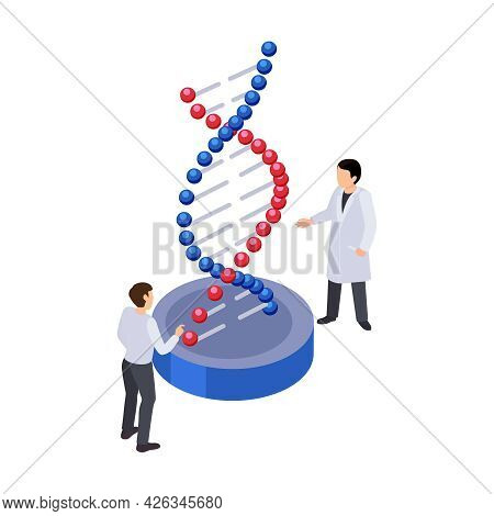 Future Technology Isometric Icon With Two Human Characters And Dna Strand 3d Vector Illustration