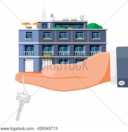 Modern Apartment Building In Hand Isolated. Exterior Or Facade Of Small City Apartment. Urban Reside