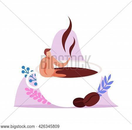 Caffeine Stimulating Effect Flat Composition With Man Relaxing In Cup Of Coffee Vector Illustration