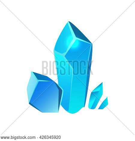 Cartoon Blue Minerals Of Different Size For Game Interface Vector Illustration