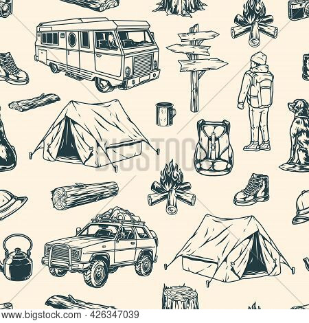 Summer Recreation Vintage Seamless Pattern With Boy Traveler Dog Motorhome Travel Car Bonfire Boot C