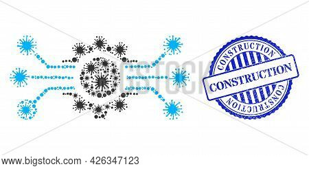 Cell Mosaic Digital Machine Icon, And Grunge Construction Seal Stamp. Digital Machine Collage For Br
