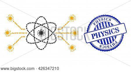 Virus Mosaic Atomic Circuit Icon, And Grunge Physics Seal Stamp. Atomic Circuit Mosaic For Pandemic