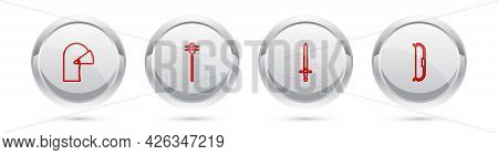 Set Line Medieval Iron Helmet, Chained Mace Ball, Sword And Bow. Silver Circle Button. Vector