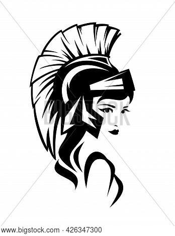 Beautiful Athena Pallas Wearing Helmet - Ancient Greek Goddess Woman Black And White Vector Head Por