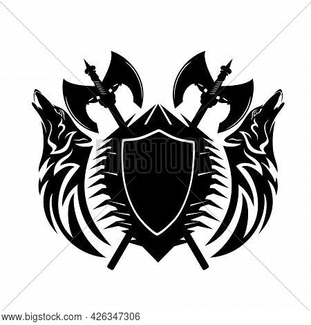 Two Howling Wolf Heads With Heraldic Shield And Crossed Scandinavian Battle Axes - Nordic Coat Of Ar