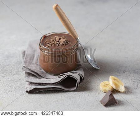 High Angle Banana Chocolate Pudding. High Quality Beautiful Photo Concept